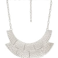 FOREVER 21 Textured Metal Crescent Bib Silver One