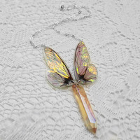 Wing Necklace - Real Insect Jewelry - Aura Quartz Necklace - Iridescent Wings - Fairy Jewelry - Statement Necklace - Aurora Borealis