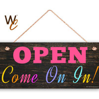 "Company Sign, Pop-Up Boutique, Open Come On In Sign, 6""x14"" Sign, PoP Up Boutique OPEN Sign, Promote Business or Boutique, Made To Order"