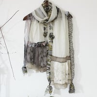 Ivory cotton scarf, Cream long scarf, Ivory lace scarf, Handmade ivory scarf, Women's accessories, Unique lace scarf, Powder long scarves