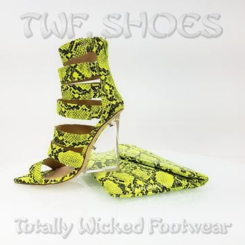"""Kenya Lime Snake Clear Wedge 4"""" High Heel Ankle Boot Shoe With Clutch"""
