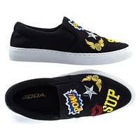 JoyPop Cotton By Soda, Slip On Sneaker w Graphic Embroidered Patched w White Platform Sole