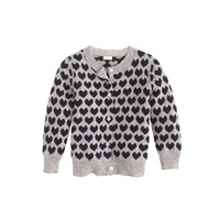 CASHMERE BABY CARDIGAN IN HEART PRINT