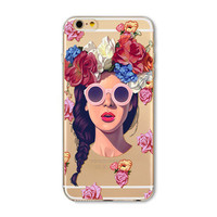 Clear Flower Girl iPhone Case 5,5s,SE,6,6S,6+,7,7+