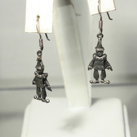 Sterling Silver Vintage Articulated Clown Earrings