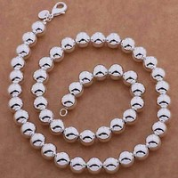 Bold Beads Silver 20 Inches Necklace For woman 10mm High Polished Any Occasion