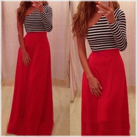 Sexy 2015 Hot Sale Women Stripe One-shoulder Bandage Long Maxi Party Prom Club Dresses = 1956887428