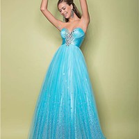 Pool Sequin Tulle Strapless Sweetheart Prom Gown - Unique Vintage - Cocktail, Pinup, Holiday & Prom Dresses.