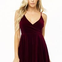 Ribbed Velvet Fit & Flare Dress