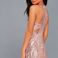 Grandeur Rose Gold Sequin Cutout Swing Dress