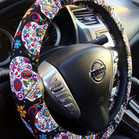 Handmade Steering Wheel Cover Folkloric Sugar Skull