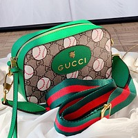 GUCCI New fashion more letter love heart print leather shoulder bag crossbody bag Green