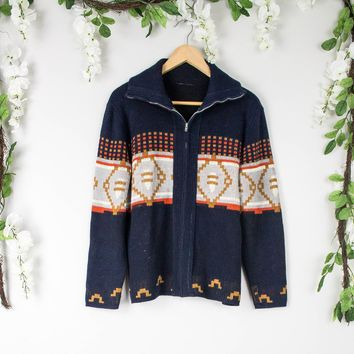 Vintage Aztec Zip Up Cardigan Sweater