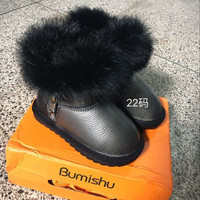 CCTWINS KIDS winter brand snow boots girls genuine leather boots for baby boys fashion fur boots children back warm shoes rifle
