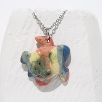 Sea turtle pendant Pottery pendant Rainbow pattern