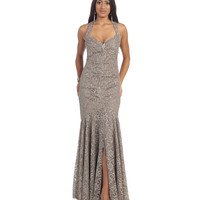 Taupe Crisscross Open Back Gown 2015 Prom Dresses