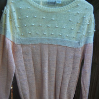 Vintage 80s Pink & Ivory The Notebook Pearl Sweater Size Medium