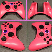 Custom New Xbox 360 Wireless Controller - Pink & Black with Matching Ring of Light
