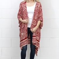 Fallen for Printed + Side Slit Kimono {Red Mix} EXTENDED SIZES