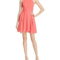 AQUAHigh Neck Fit and Flare Dress
