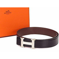 Auth HERMES H Buckle Belt Sizeï¼?0 Leather Silver-tone Black Brown