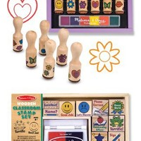 3 Item Bundle: Melissa & Doug 2400 Classroom and 2407 Happy Handle Stamp Sets + Free Activity Book