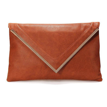 Metal Bar Clutch Bag With Pointed Flap in Brown