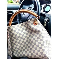 LV Tide brand classic models women's casual simple backpack shoulder bag White check