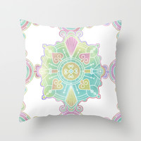 Moroccan Mandala Pattern Rainbow Watercolor Throw Pillow by Cute To Boot