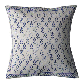 White Hand Block Blue Floral Decorative Throw Pillow Cover