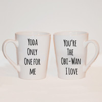 Yoda One For Me-You're the Obi-Wan I Love - Set of Two Star Wars Mugs - Valentines Day Gift - Gift for Star Wars Fans - Wedding Gift