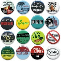 "Animal Liberation 1.25"" pin back buttons. Set of 16 different badges. Animal rights lot of pins. go veg, vegetarian, Pro life? Go Vegan."