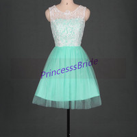 2014 short ivory lace mint tulle bridesmaid dressesinexpensive bridesmaid gowns hot,cheap cute dress for wedding party under 100,prom dress.
