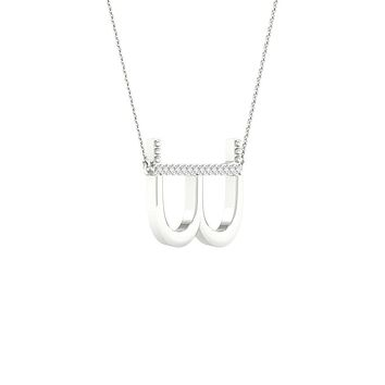 14k White Gold Round Diamond Initial B Letter Necklace 1/20 Cttw