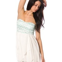 Zig Zag Bodice Chiffon Dress - Mint from Casual & Day at Lucky 21 Lucky 21