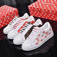 LV tide brand female models wild fashion canvas printing letters casual white shoes