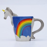 "New Arrival Quirky Rainbow Unicorn Mug ""I Don't Believe In Humans"" Office Coffee Cup Magical Unicorn Cup"