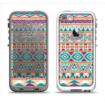 The Tan & Teal Aztec Pattern V4 Apple iPhone 5-5s LifeProof Fre Case Skin Set