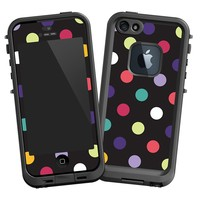 """Polka Dot Explosion on Black """"Protective Decal Skin"""" for LifeProof fre iPhone 5/5s Case"""