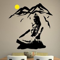 Lord Shiva Wall Sticker Yoga Lotus Pose Vinyl Wall Decal Mountain Meditation Home Decoration Hindu God Removable Art MuralSYY463
