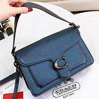 COACH New fashion solid color leather shoulder bag handbag crossbody bag Blue