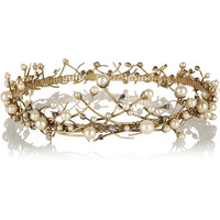 Erickson Beamon - Stratosphere gold-plated, Swarovski crystal and faux pearl headpiece