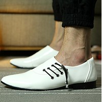 pointed toe dress shoes mens patent leather black shoes wedding dress oxford shoes for men designer version luxury prom shoes
