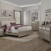 Alpine Silver Dreams Queen Panel Bed with Upholstered Headboard