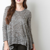 Marled Knit Sharkbite Hem Long Sleeves Top