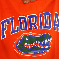 Upcycled UF Tee - Florida Gators Orange and Blue Large Mens Tee repurpose backless bows FREE Shipping to USA