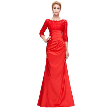 Black Red Satin Mermaid Evening Dress for Wedding Mother of the Bride Dresses Long Sleeve Lace Evening Gowns Women 4524