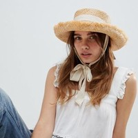 ASOS DESIGN Natural Raw Edge Straw Hat With Chin Tie And Size Adjuster at asos.com