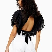 Broderie Frill Crop Blouse | Topshop