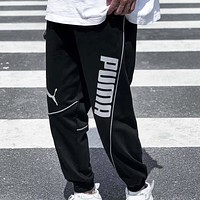 PUMA Fashion New Letter Print Women Men Pants Black